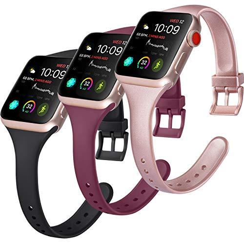Amzpas 3 Cinturini per Apple Watch Cinturino 38mm 40mm 44mm 42mm, Cinturino Sportivo in Silicone Stretto per iWatch Series 5,Series 4,Series 3,Series 2,Series 1 (38/40mm S, A Nero/Rosso vino/Oro rosa)