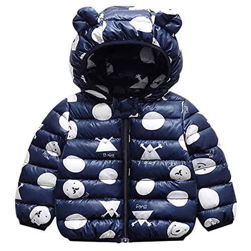 Bambini Invernale Piumino, Cappotto con Cappuccio Snowsuit Manica Lunga Outfits Giubbotto Giacca Outwear Vestiti Regalo 1-2 Anni,Blu Navy
