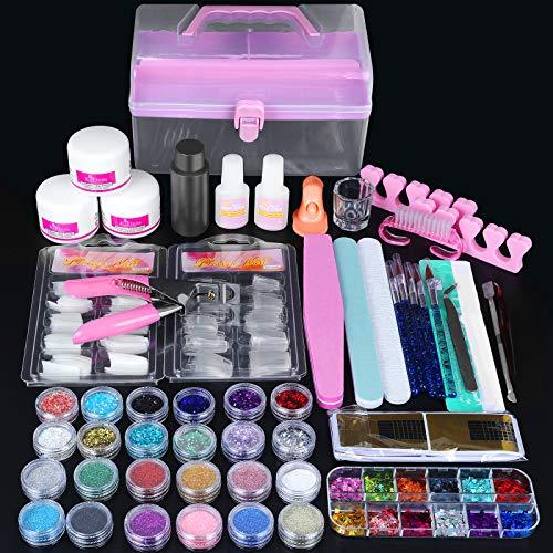 Kit Acrilico Per Unghie,SPTHTHHPY 52 in 1 Polvere Acrilico Set Gel Acrilico pezzi glitter per Ricostruzione Unghie Completo