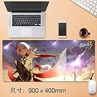 Vampsky 日本アニメHonkaiインパクト3マウスパッドマウスマットで縫製エッジ滑り止めラバーベースノートパソコンとPCの90 * 40センチメートル用の大型マウスパッド (サイズ : Thickness: 4mm)