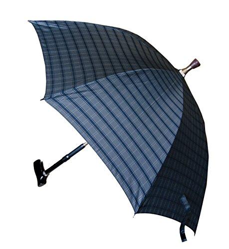 Gehstock mit Schirm Stockschirm Regenschirm mit integriertem Gehstock und Schutzhülle, grau-kariert