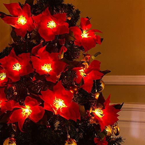 Konstgjord julstjärna julgirland med röda bär och järnekblad jul LED-strängljus 7,5 fot 10 lampor jul röd blommakrans Xmas nyårsdekoration julgran D