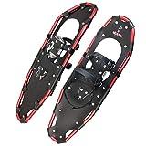 ALPIDEX Schneeschuhe Aluminium Rahmen Damen Herren ab Schuhgröße 36 bis 135 kg Ratschenbindung Tragetasche, Farbe:Black/Red 30