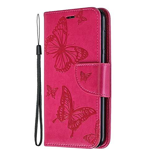 Tosim [Huawei Y5 2018] Hülle Leder, Klapphülle mit Kartenfach Brieftasche Lederhülle Stossfest Handy Hülle Klappbar für Huawei Y5 (2018) - TOBFE140230 Rosa Rot