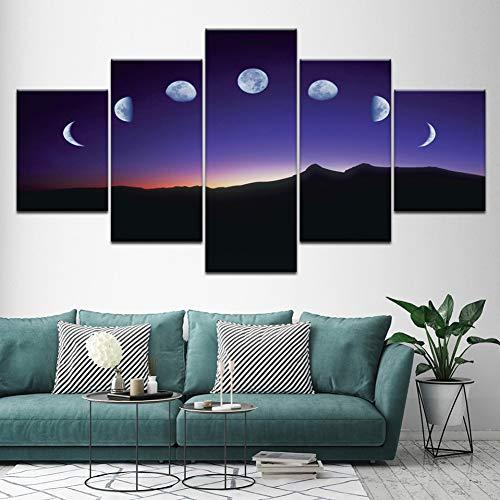 MMLFY 5 aufeinanderfolgende Gemälde Minimalist 5 Blatt Mondphase Leinwand Gemälde Schwarz Weiß Kunst Poster Grafik Wandbild für Wohnzimmer Home Decor Wandbild (Kein Rahmen)