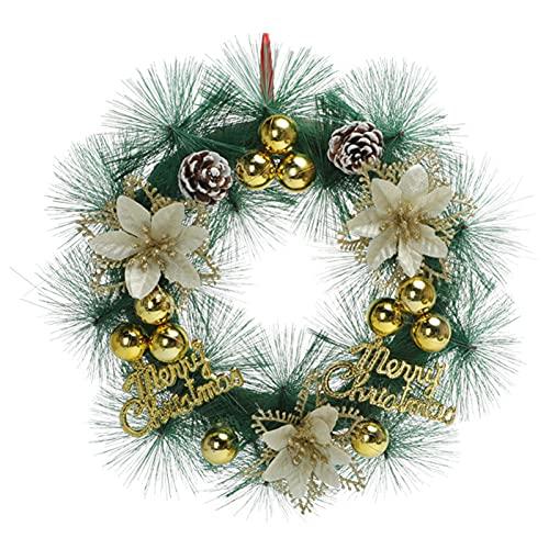 Domeilleur - Ghirlanda natalizia classica per porta d'ingresso, 30 cm, con lettera e decorazione regalo da appendere per la casa e la festa