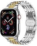 SaNgaiMEi Compatible con Apple Watch Series 6 / 5/4/3 / 2/1 / SE, Pulsera 38 mm 40 mm 42 mm 44 mm, Correas de metal Reemplazo compatible con Apple Watch (32 silver+gold 38)