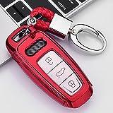 ontto Funda para llave de coche para Audi A6L A7 A8 Q8 E-tron A4 C8 Q8 D5 E-tron S3 A3 e-tron Sportback Q7 60 TFSI mando a distancia Cover TPU Funda para llave de coche, color rojo