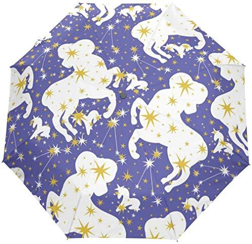 INSTO Viaje a Prueba de Viento Plegable Umbrelation Constelation Arias Zodiac Stars Sopbrellas-Auto Abierto Mango a Prueba de Deslizamiento