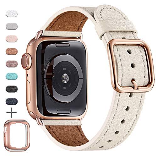 MNBVCXZ Correas compatibles con Apple Watch - Correa de cuero de grano superior [Edición de diseño único] [Blanco marfil y oro rosa - 42mm 44mm]