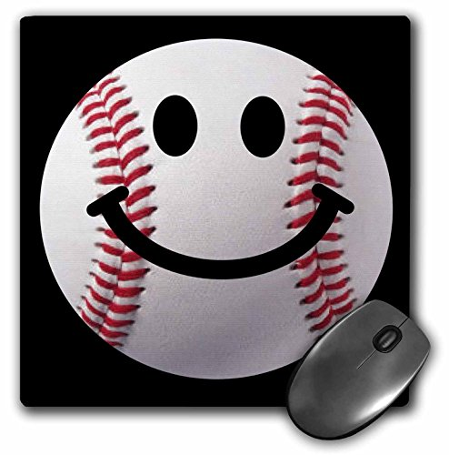 3dRose Mouse Pad Baseball Smiley Face - Sporty Sports Fan Smilie Red and White Ball On Dark Black Background - 8 by 8-Inches (mp_76657_1)