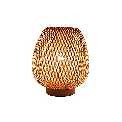 Lámpara de mesa de bambú tejida a mano,lámpara de noche de dormitorio de hotel lámpara de escritorio de decoración de sombra de bambú,luz de mesa de linterna de estilo retro,luz de noche E27
