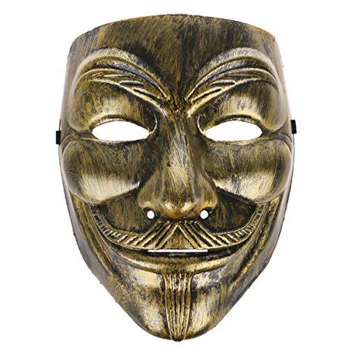 MALALPHA máscara de Disfraz Dorado Color Bronce Anonymous