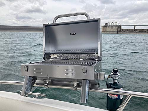 Bunker Up Fishin Boat Grill Railing Mount Stainless Steel Adjustable