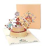 Deesospro Tarjetas de felicitación Cumpleaños los niños, Tarjeta de cumpleaños Regalo para familiares, amigos y amantes, Tarjeta de felicitación emergente 3D, (feliz cumpleaños payaso)
