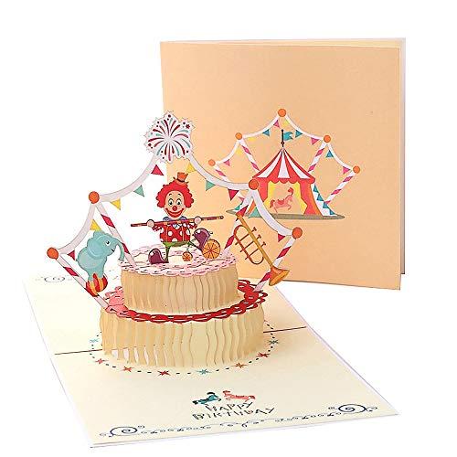 Deesospro® Tarjetas de felicitación Cumpleaños los niños, Tarjeta de cumpleaños Regalo para familiares, amigos y amantes, Tarjeta de felicitación emergente 3D, (feliz cumpleaños payaso)