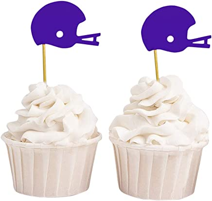 Darling Souvenir Baseball Helmet Cupcake Toppers, Wedding - Birthday Party Dessert Decorations - Pack of 40