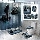 QXXZ Juego de 4 cortinas de ducha con diseño de sirena 3D, impermeable, con 12 ganchos antideslizante, tapa de inodoro, alfombrilla de baño para decoración de baño, accesorios B15-180x180