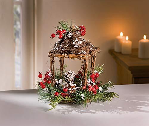 Deko Pavillon Winter aus Weide, mit Kunstschnee und Beeren, Zweige & Tannenzapfen