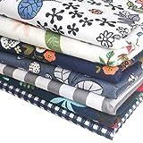 7枚 花柄 ブルー 生地 カットクロス はぎれ パッチワーク DIY 手芸用 56×46cm 綿 布セット