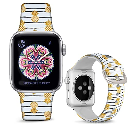 DOO UC Silicone Floral Bands Compatible with Apple Watch 38mm/40mm for Women Girls, Stripes Pineapple Fadeless Pattern Printed Sport Strap Replacement for iWatch SE & Series 6 & Series 5 4 3 2 1 M/L