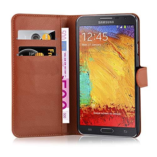 Cadorabo Hülle kompatibel mit Samsung Galaxy Note 3 NEO Hülle in Schoko BRAUN Handyhülle mit Kartenfach & Standfunktion Schutzhülle Etui Tasche