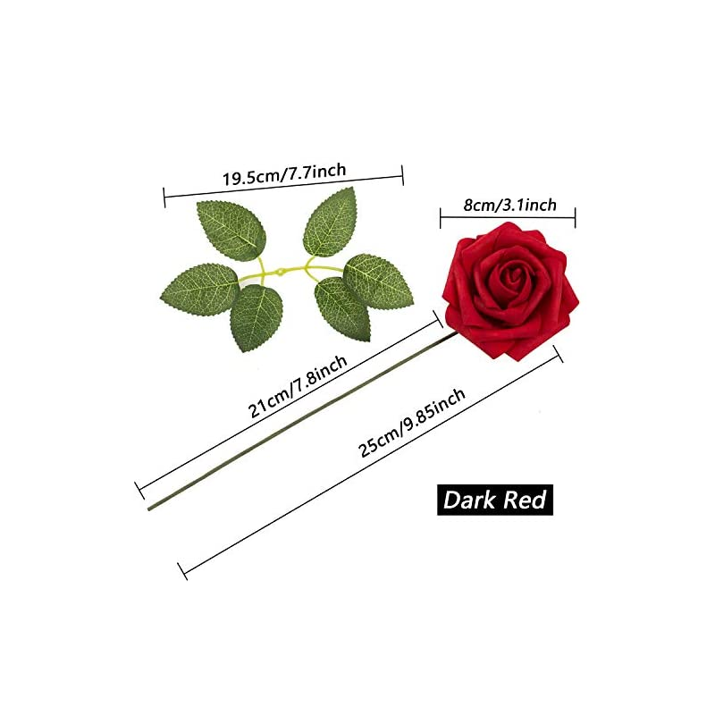 silk flower arrangements joejisn artificial flowers latex foam roses 25pcs real looking fake roses with stems for diy wedding bouquets centerpieces arrangements cake flowers baby shower party home decorations (dark red)
