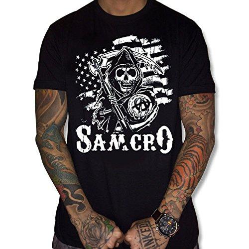 T-Shirt Flag USA Samcro Sons of Anarchy (L, Noir)