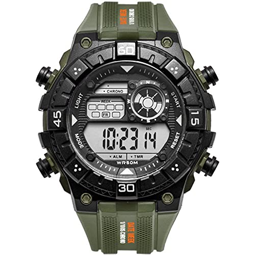 WNGJ Reloj Deportivo Reloj Multifuncional El Simple Reloj de Relojes Luminosos para Hombres para Estudiantes de Primaria y Secundaria Green
