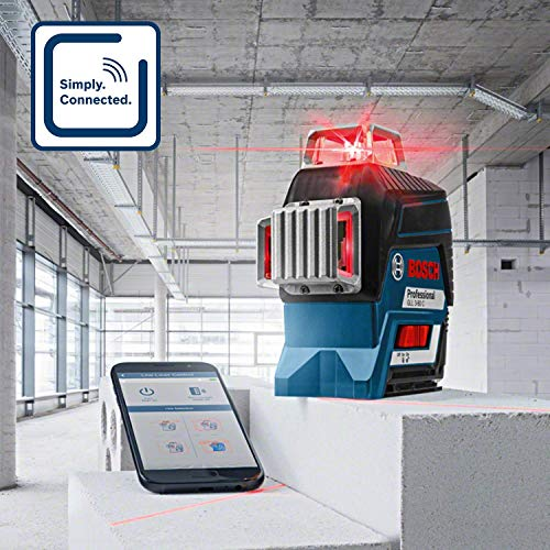 Bosch Professional 12V System Niveau Laser Lignes GLL 3-80 C (1 batterie 12V, laser rouge, avec fonction d'application, portée : jusqu'à 30 m, support universel BM 1, L-BOXX)