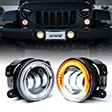 Xprite 4' Inch 60W Cree Led Fog Lights W/Amber Halo Ring DRL for Jeep Wrangler JK Led Fog Lamps Bulb Auto Driving...