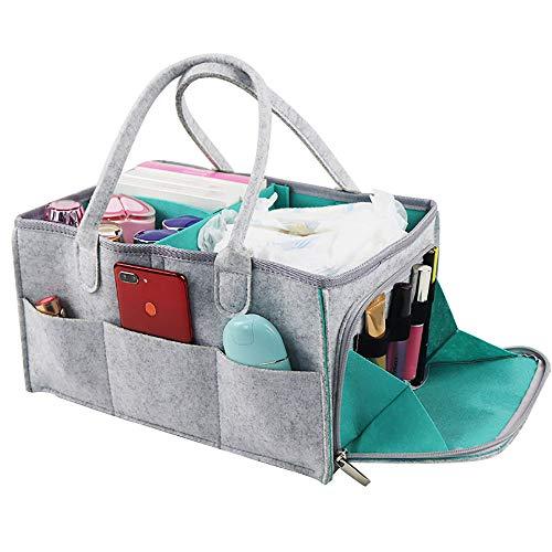 UTDKLPBXAQ Bolsa de carrito de pañales para bebé, almohadillas de cambio portátiles, cesta de almacenamiento de ducha de enfermería, contenedor de fieltro para viajes de mesa de guardería