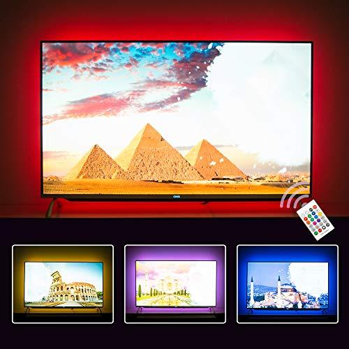 TV Hintergrundbeleuchtung für Fernseher 65 70 75 80 82 Zoll TV LED Streifen USB TV Backlight (RF Remote mit 10 Farben, 5.5meter)