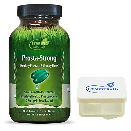 Irwin Naturals Prosta-Strong, Supports Prostate Health and Urinary Flow - 90 Liquid Softgels Bundle with a Pill Case