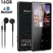 MP3 Bluetooth 16GB, Mbuynow 2,4 Pulgadas Reproductor de MP3 Bluetooth 4.0 con Botón Táctil HiFi Grabación Radio FM Altavoz Incorporado Soporte 128GB TF Card