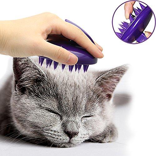 CeleMoon Silikonbürste zur Fellpflege, ultraweich mit sanften Silikonborsten, waschbar, für Katzen-Fellpflege, Massage und zum Baden, sicher und Nicht kratzend, lila