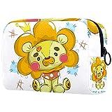Bolsa de maquillaje multicolor con cremallera, organizador de viaje para mujeres y niñas lindo bebé peluche león es un niño