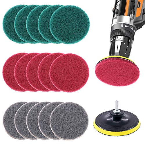 Glarks 16Pcs 5 Inch Drill Power Brush Tile Scrubber Scouring Pads Cleaning Kit with 5 Inch Disc Pad Holder for Bathroom & Kitchen Cleaning, 3 Different Stiffness (Red, Gray, Green)