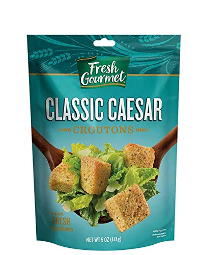 Fresh Gourmet Premium Croutons | Classic Caesar | 5 Ounce, Pack of 6 | Crunchy Salad Topper