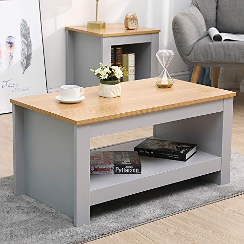 CFDZ Wooden Furniture Coffee Table Small Side Storage Cabinet with Shelf-Grey+Oak,85x47x42cm