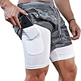 Surenow Mens Running Shorts,Workout Running Shorts for Men,2-in-1 Stealth Shorts, 7-Inch Gym Yoga Outdoor Sports Shorts Camouflage Grey