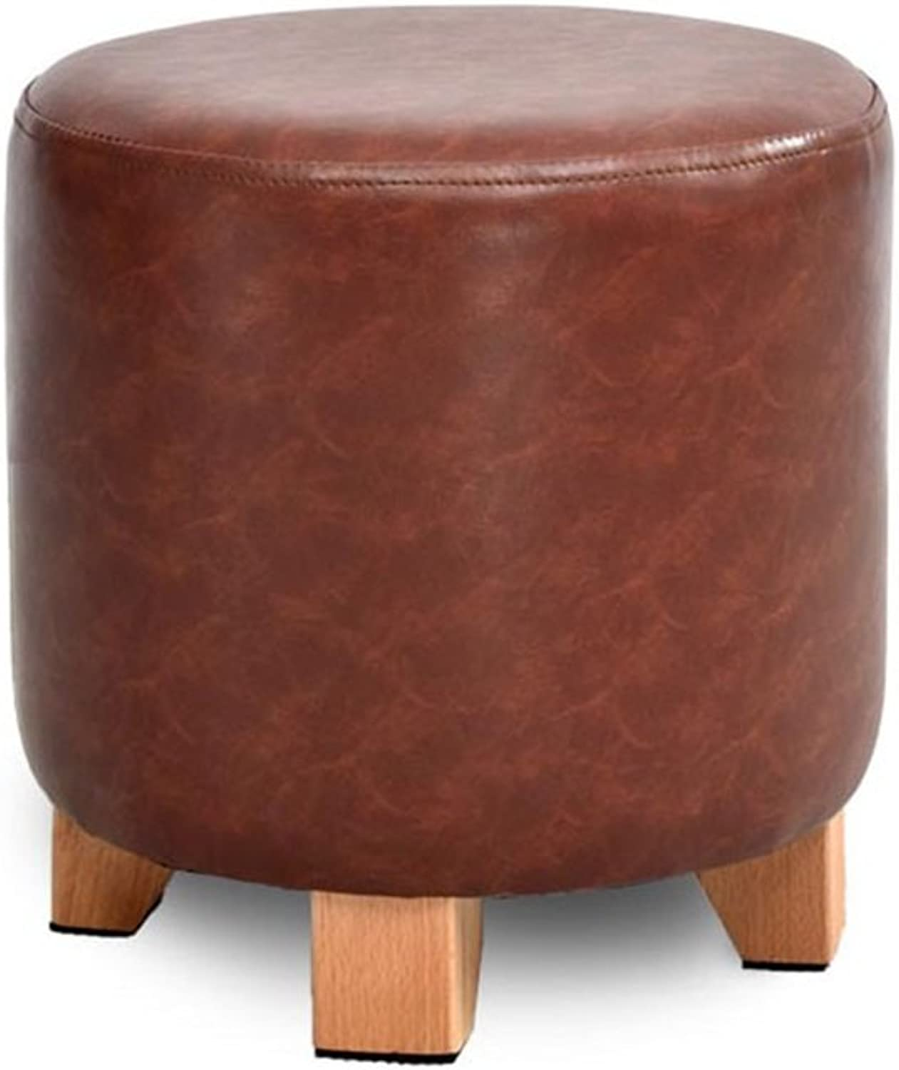 BJLWTQ Solid Wood shoes Stool Upholstered Footstool Footrest Leather Dressing Stool Makeup Stool Dining Chair Small Seat Foot Rest Chair (color   RED, Size   29  30cm)