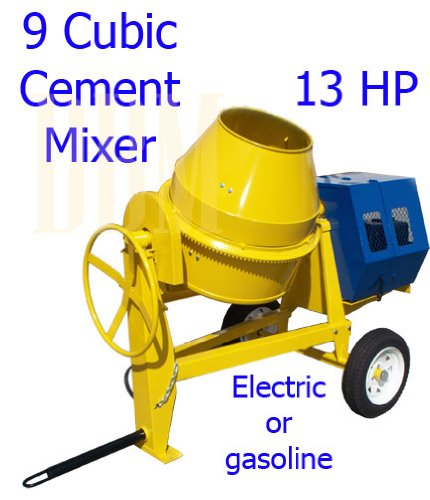 9 CU Cubic Concrete Cement Mixer 13HP Gas Gasoline