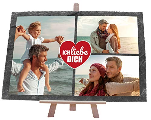 wandmotiv24 individuelle Schiefertafel - Ich Liebe Dich, Größe 30 x 20 cm, Querformat, 3 Fotos, Geburtstagsgeschenk für Paare, personalisierte Partner Geschenke, Geschenk-Idee, Deko, Bedruckt M0487