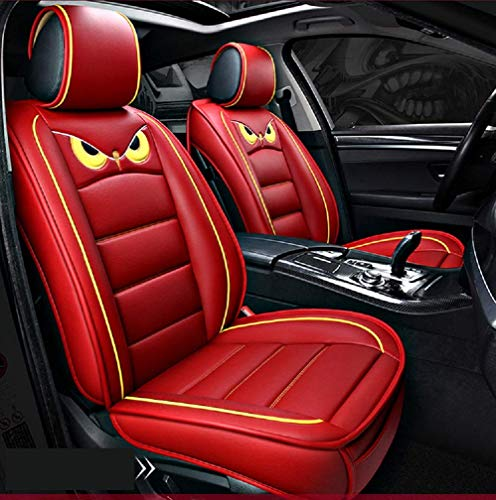 PTOWL Cartoon Full Set Universal Fit 5 Seats Car Surrounded Waterproof Leather Car Seat Covers Protector Adjustable Removable Auto Seat Cushions (RED)