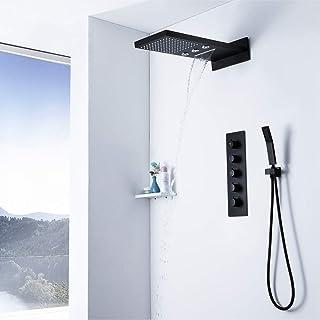 KANJJ-YU Supercharged Petite Chute d'eau Top Vaporiser Thermostat Mural Noir Set de Douche cuivre Robinet de Douche Douche...