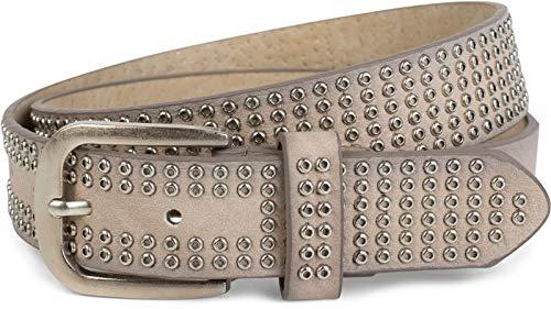 styleBREAKER Nietengürtel mit All Over Lochnieten, Vintage Nieten Gürtel, kürzbar, Unisex 03010078, Farbe:Creme-Beige, Größe:90cm