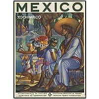 ZNNHEROメキシコソチミルコ旅行ポスターとプリントウォールアートリビングルームの装飾のためのキャンバス絵画-50X70Cmx1フレームなし
