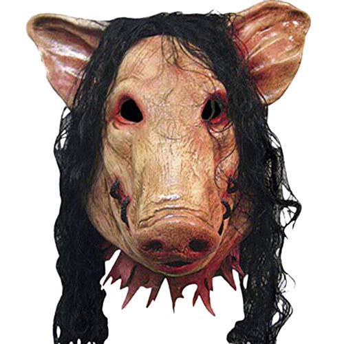 TOOGOO MáScaras de Miedo de Halloween Novedad Cabeza de Cerdo Horror con Mascarillas del Cabello Caveira Disfraz de Cosplay Suministros Realistas del Festival de LáTex MáScara