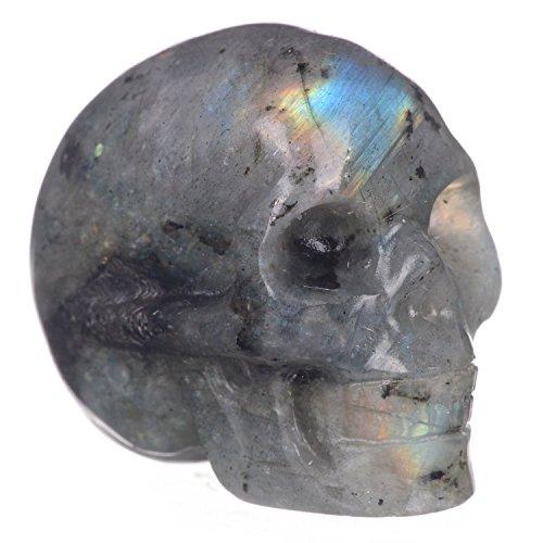 Mineralbiz 1.3'-1.5' Length Natural Labradorite Hand Carved Crystal Skull Gemstone Human Skull Head Carving Healing Reiki